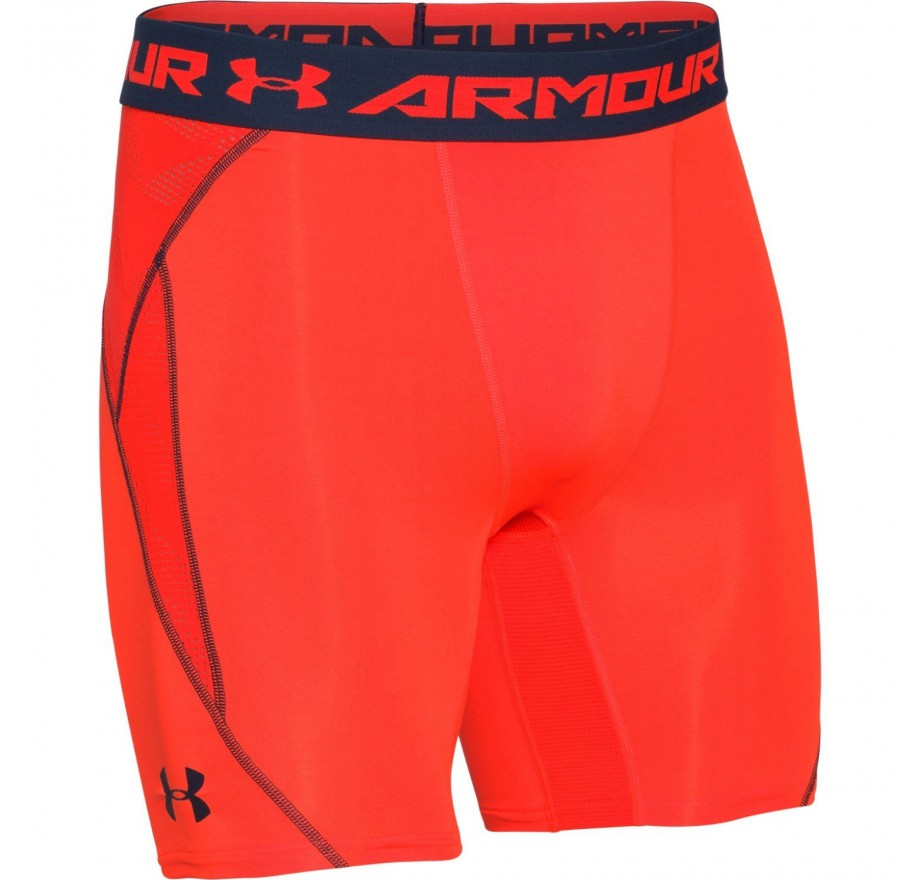 orange under armour compression shorts